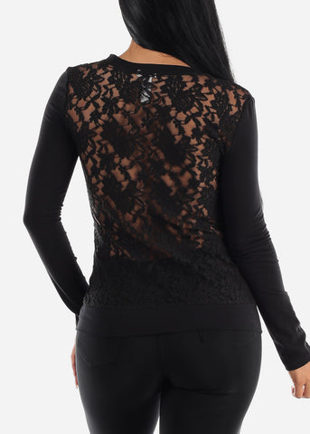 Image of Button Up Floral Lace Black Cardigan
