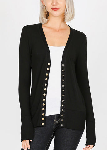 Black Snap Button Sweater Cardigan