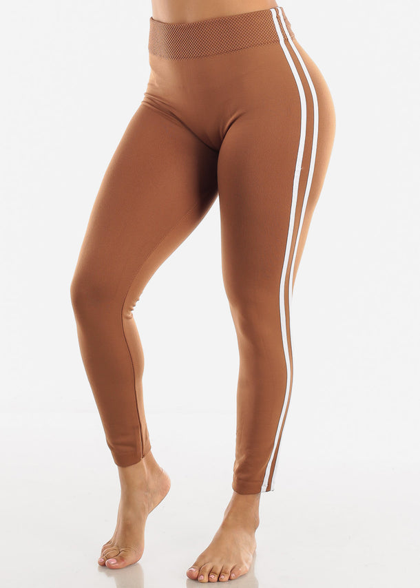 Side Stripe Khaki Wide Waist Leggings