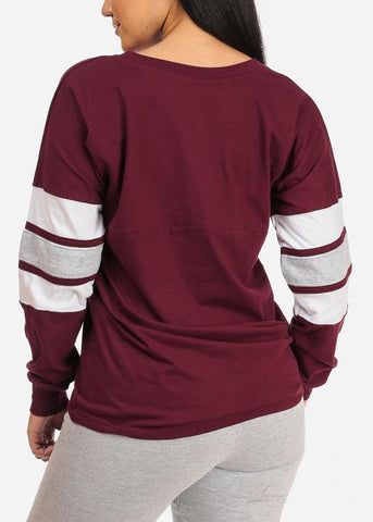 Image of Long Sleeve Maroon Sweatshirt