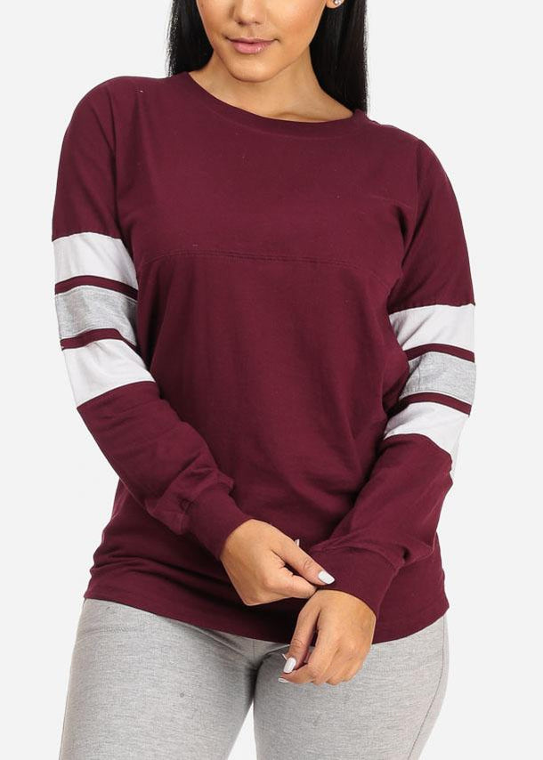 Long Sleeve Maroon Sweatshirt