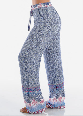 Image of High Rise Blue Printed Pants