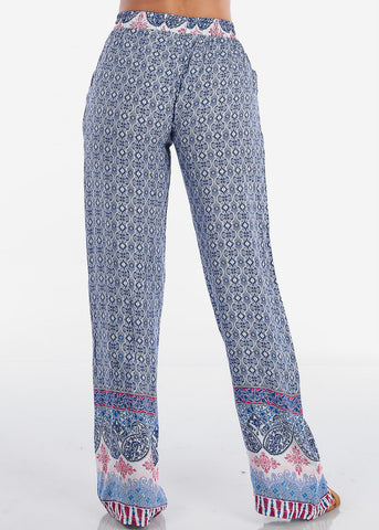 Women's Stylish Boho Lightweight Blue Printed Flare Flowy High Waisted Wide Legged Summer Pants
