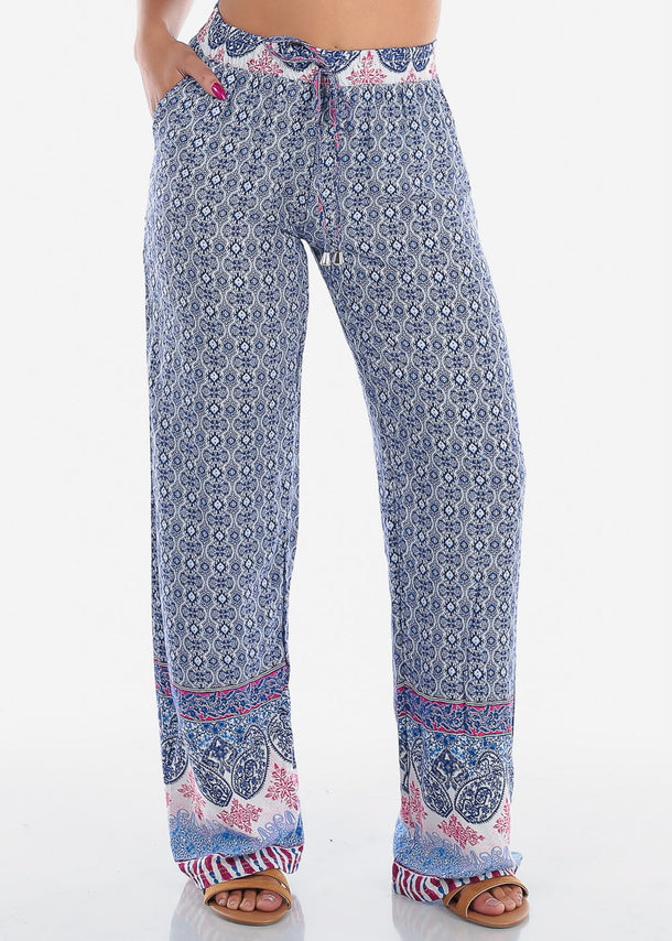 Cheap Blue Printed Pants