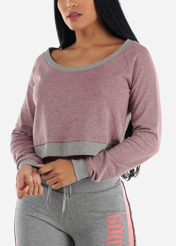 Heather Pink Cropped Pullover