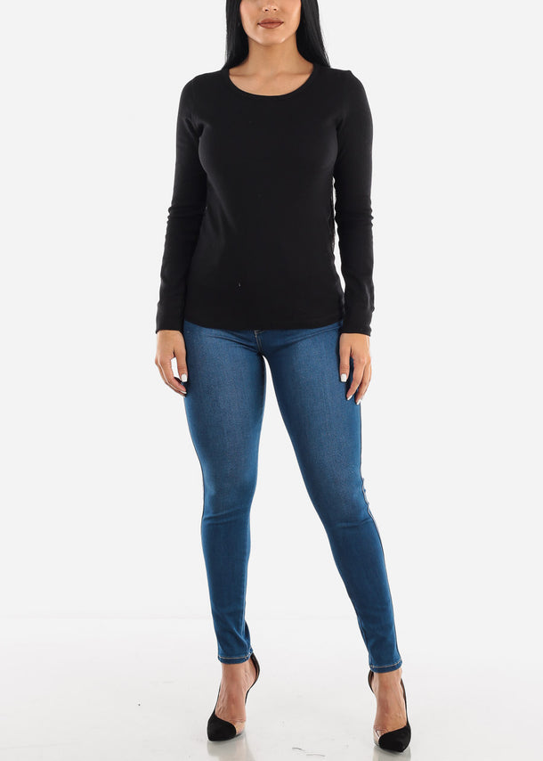 Black Ribbed Long Sleeve Top
