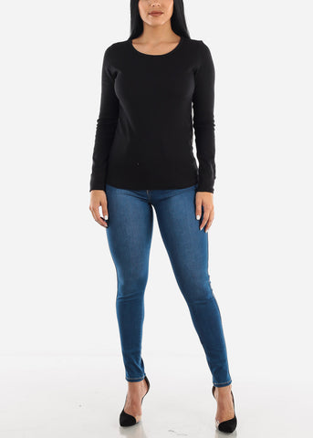 Image of Black Ribbed Long Sleeve Top