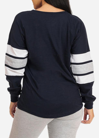 Image of Long Sleeve Navy Sweatshirt