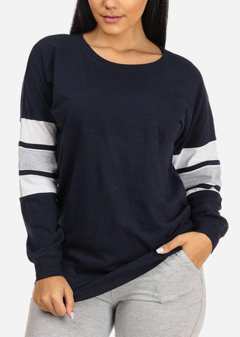 Long Sleeve Navy Sweatshirt