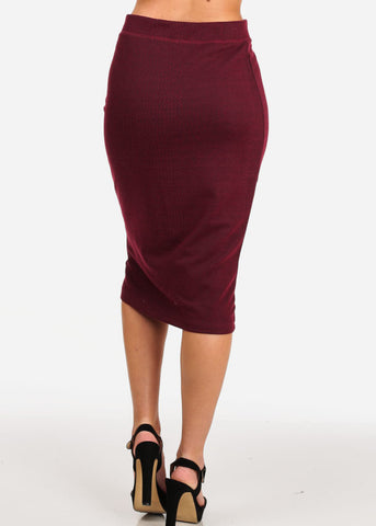 Image of Women's Junior Ladies Professional Business Office Career Wear Printed Wine Pencil Midi Skirt