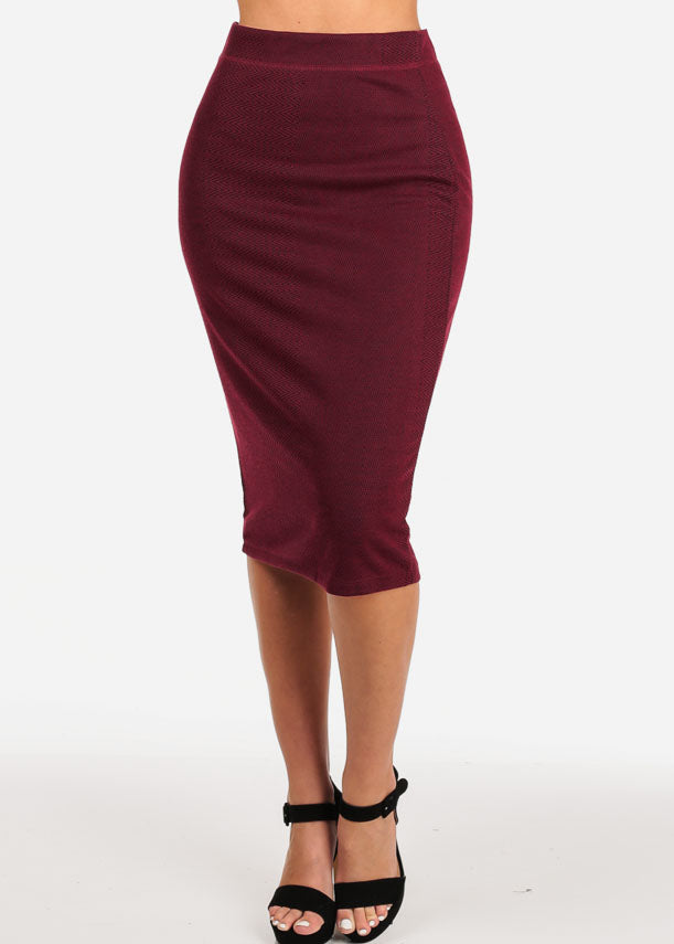 Women's Junior Ladies Professional Business Office Career Wear Printed Wine Pencil Midi Skirt