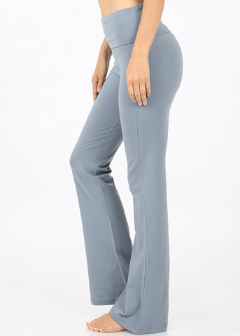 Image of Fold Over High Rise Blue Grey Yoga Pants