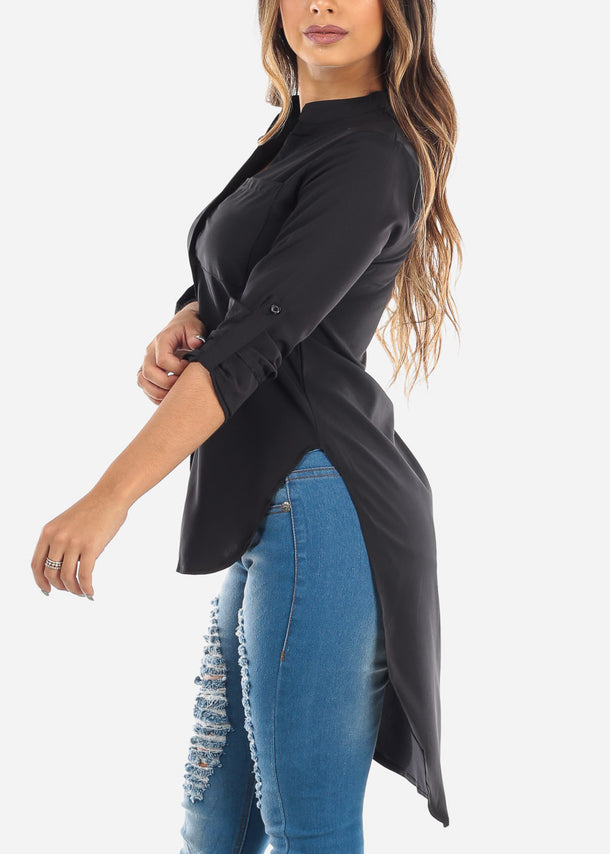 High Low Button Up Black Shirt
