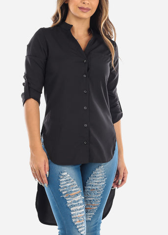 Image of Black High Low Blouse - Black Button Up Shirt - Dressy Black Shirt