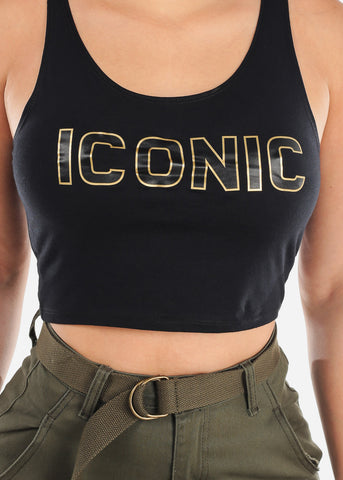 "Black Graphic Tank Top ""Iconic"""