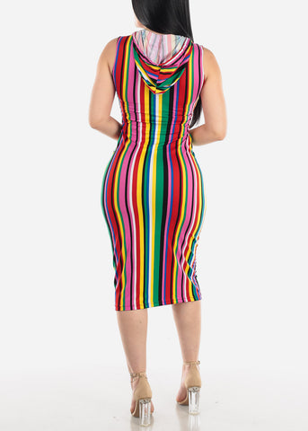 Multicolor Stripe Bodycon Midi Dress