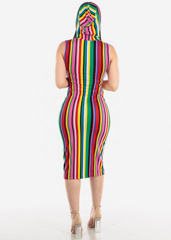 Image of Multicolor Stripe Bodycon Midi Dress