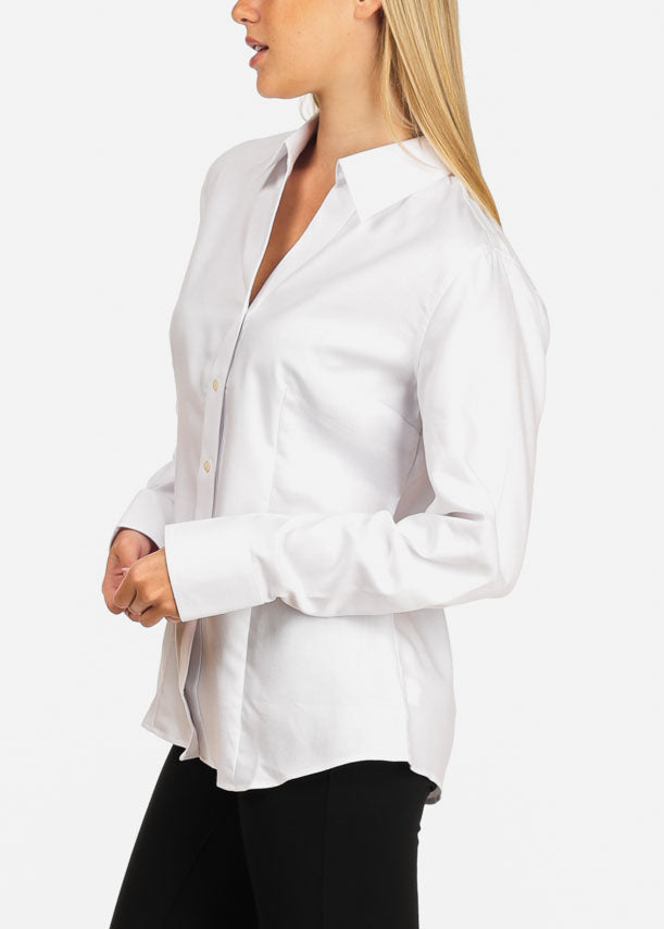 b26a1550d Women's Junior Lady Casual Formal Professional Business Career Wear White  Long Sleeve Shirt Blouse. Double tap to zoom