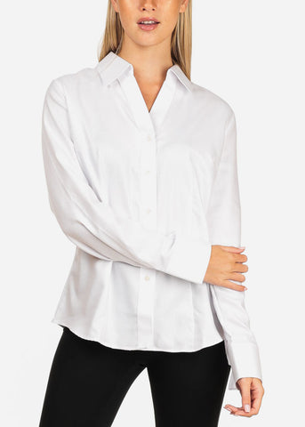 Women's Junior Lady Casual Formal Professional Business Career Wear White Long Sleeve Shirt Blouse