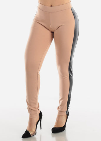 Image of Pleather Sides Beige Skinny Pants