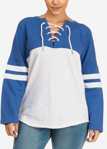 Blue Long Sleeve Pullover Sweatshirt