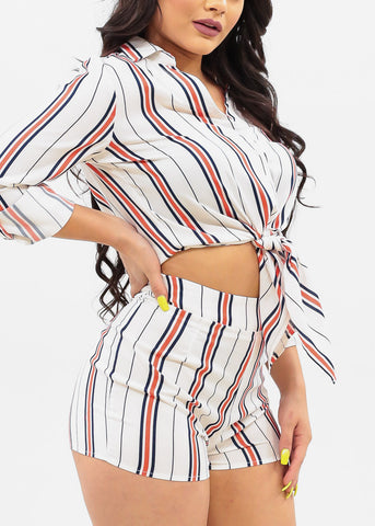 Women's Junior Ladies Summer Vacation Lightweight Button Up Tie Front 3/4 Roll Up Sleeve Top And High Rise Stripe Shorts Two Piece Set