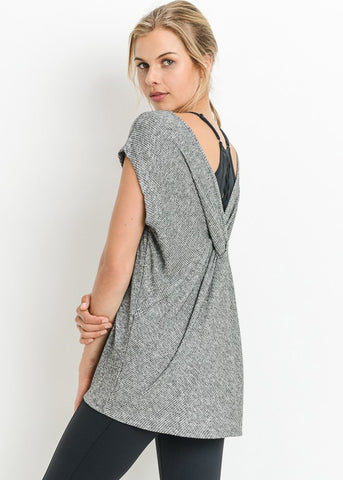 Back Design Grey Knitted Tunic Top