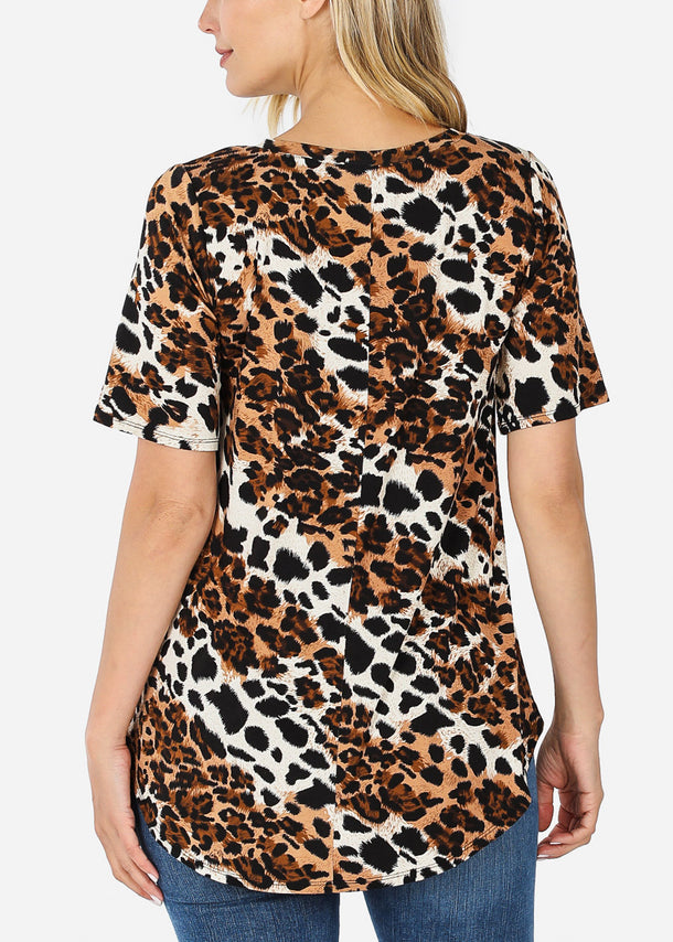 V-Neck Animal Print Tunic Top
