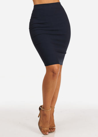 Office Business Wear High Waisted Navy Pencil Skirt