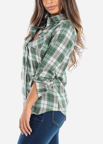 Image of Green Plaid Button Down Shirt