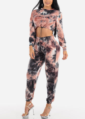 Image of Coral Tie Dye Crop Top & Jogger Pants (2 PCE SET)