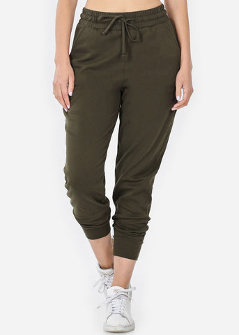 Image of Cotton Olive Jogger Sweatpants