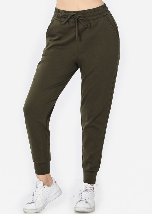 Cotton Olive Jogger Sweatpants