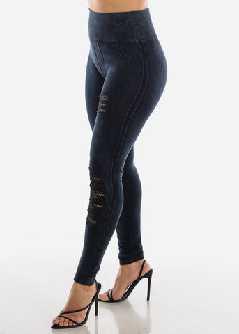 Ripped Fishnet Dark Navy Leggings