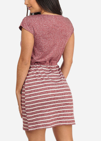 Women's Junior Ladies Casual Stretchy Love Rhinestone Design Partial Stripe Burgundy Dress