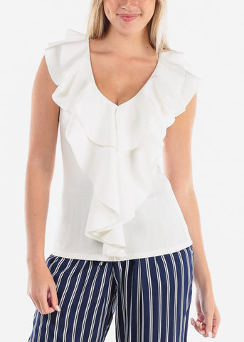 Image of Women's Junior Ladies Sexy Going Out Dressy Ruffle Detail White Sleeveless Top