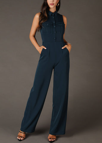 Image of Shirt Collar Buttoned Teal Jumpsuit