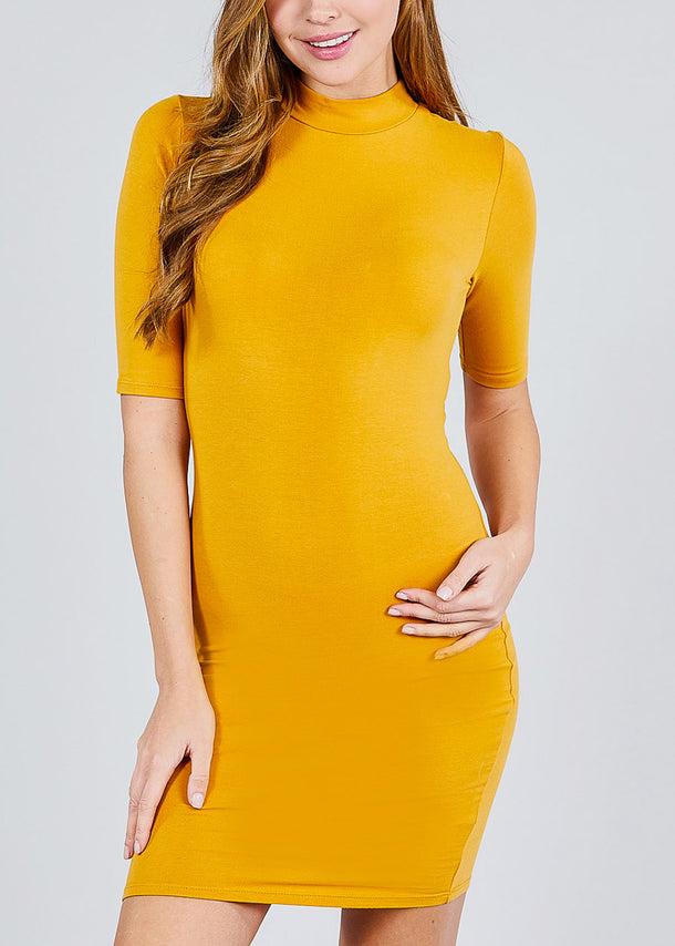 Mustard Mock Neck Bodycon Dress