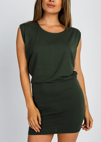 Olive Sleeveless Mini Dress