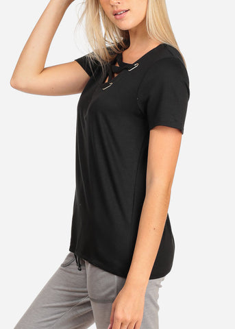 Women's Junior Casual Trendy Strappy Neckline Stretchy Solid Pure Black Short Sleeve Top