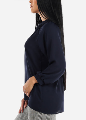 Long Sleeve Navy Blouse