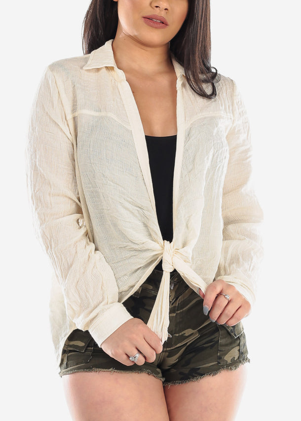 Cute Essential Lightweight Cream Open Front Long Sleeve Cardigan For Women ladies Junior