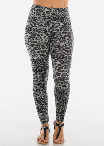 Grey Leopard Print Leggings L138ANMLGRY