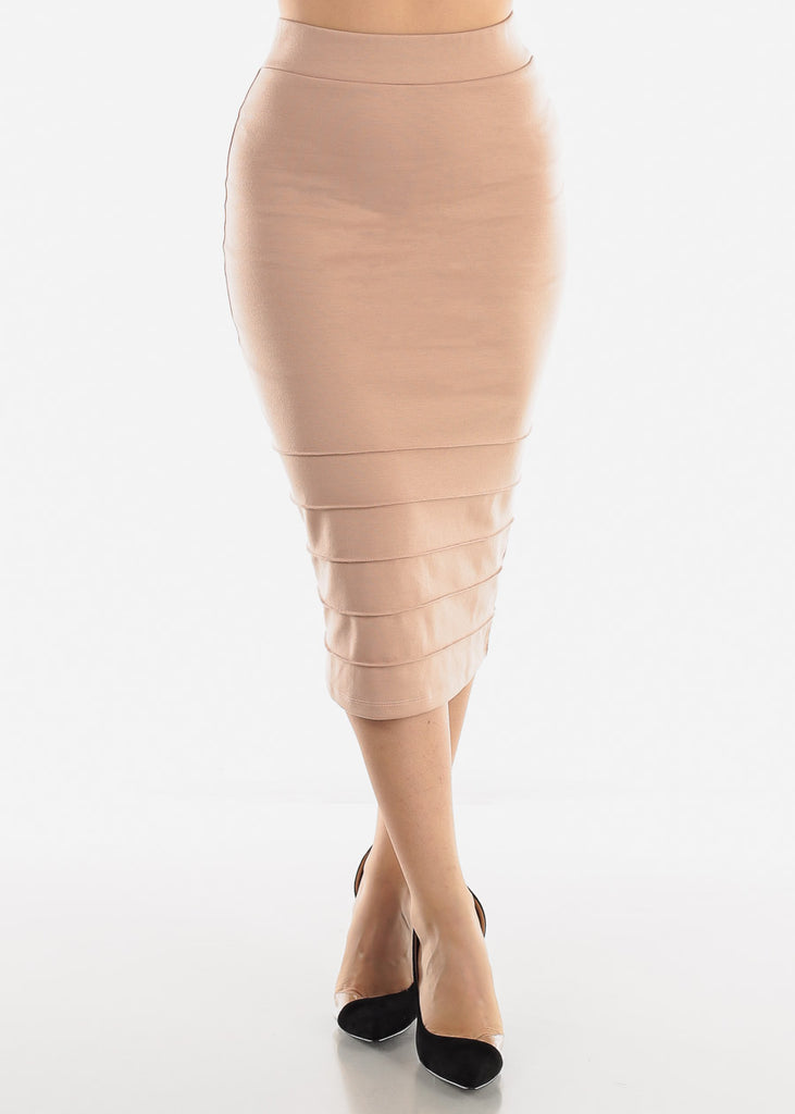 High Rise Beige Pencil Skirt