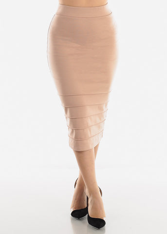 Image of High Rise Beige Pencil Skirt