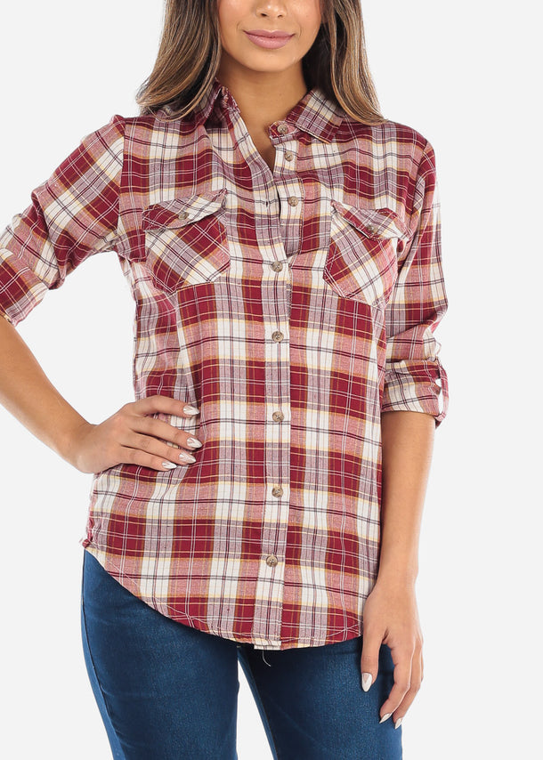 Red Plaid Button Down Shirt