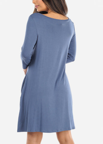 Blue Swing Dress With Pockets