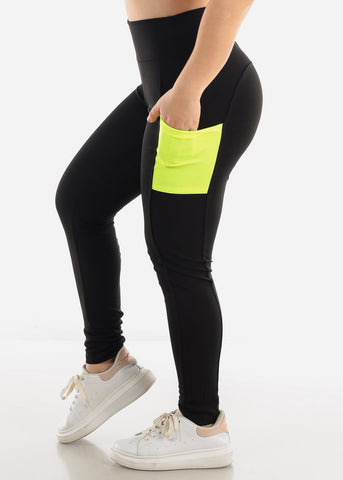 Black & Green Side Pockets Leggings