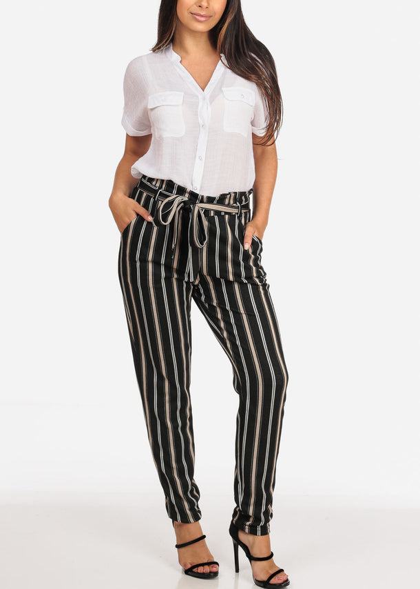 High Rise Black Stripe Pants with Belt