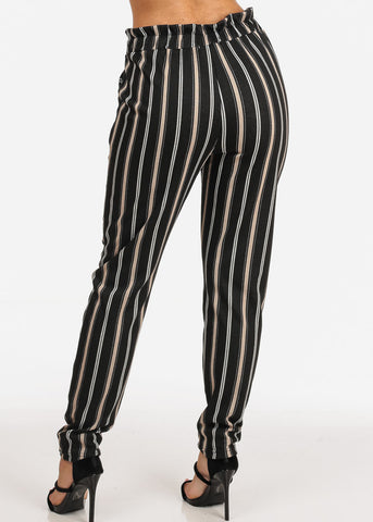 Image of Women's Junior Ladies Dressy Going Out Stretchy High Rise Black Stripe Dressy Pants